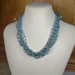 Lia Sophia Coast Glass blue and white necklace